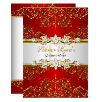 Elegant Gold Red Vintage Glamour Quinceanera Card