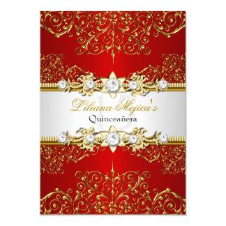 Elegant Gold Red Vintage Glamour Quinceanera Card