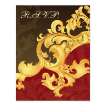 elegant gold red wedding RSVP Card