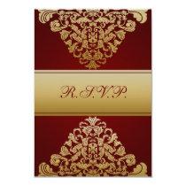 elegant gold red wedding RSVP Standard 3.5 x 5 Card