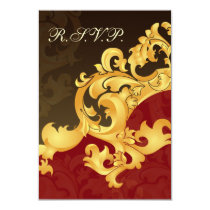 elegant gold red wedding RSVP Standard 3.5 x 5 Card