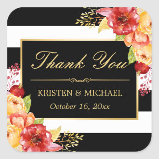 Elegant Gold Red Yellow Floral Autumn Thank You Square Sticker