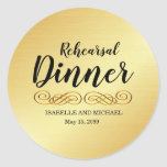 """Elegant Gold Rehearsal Dinner Envelope Seals<br><div class=""""desc"""">Send out your rehearsal dinner invitations in style with these gold rehearsal dinner stickers. They are perfect envelope seals. They begin with Rehearsal Dinner in a modern script font. A gold flourish makes an elegant statement and then the wedding couple"""
