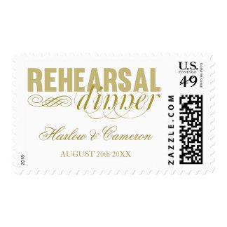 Elegant Gold Rehearsal Dinner Postage