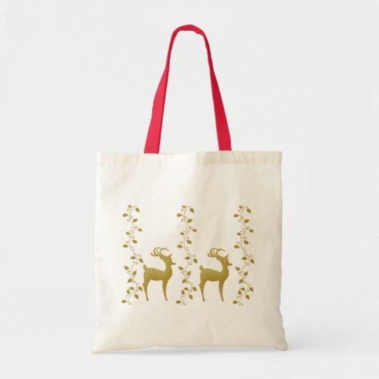 Elegant gold reindeer Christmas holiday gifts bag