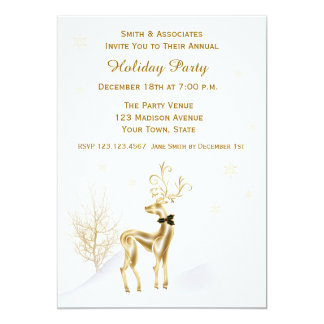 Elegant Gold Reindeer Holiday Party Invitation