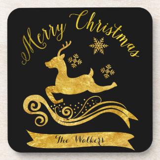 Elegant Gold Reindeer & Snowflakes Coasters