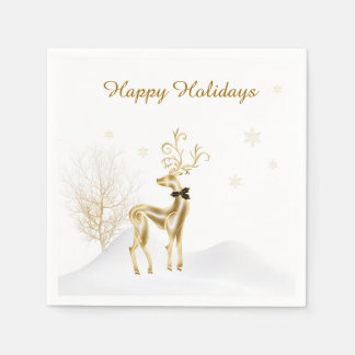 Elegant Gold Reindeer, Winter Scene Napkin