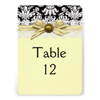 Elegant Gold Ribbon Damask Table card