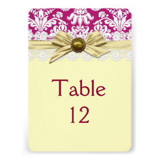 Elegant Gold Ribbon Floral Damask Table card