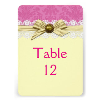 Elegant Gold Ribbon Pink Damask Table card