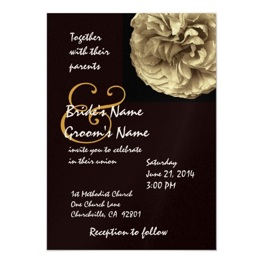 Elegant GOLD Rose Black & White Wedding Invitation
