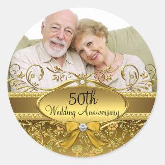 Elegant Gold Rose Photo 50th Anniversary Sticker