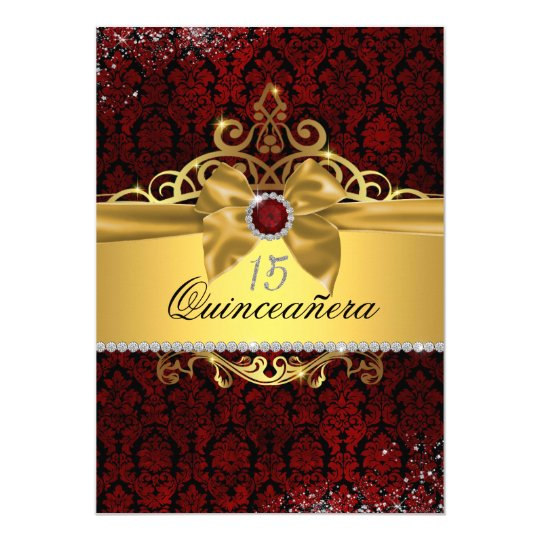 Elegant Gold Ruby Red Damask Quinceanera Invite Zazzlecom