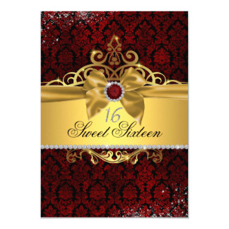 Elegant Gold Ruby Red Damask Sweet Sixteen Invite