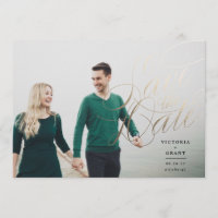 Elegant Gold Save the Date calligraphy photo card