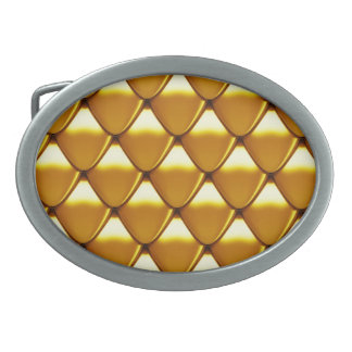 Elegant Gold Scale Pattern Oval Belt Buckle