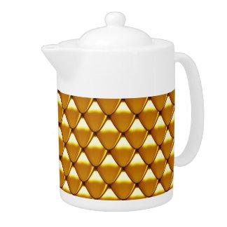 Elegant Gold Scale Pattern Teapot