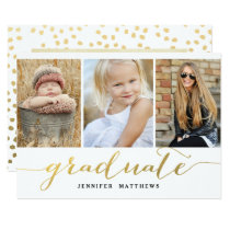 Elegant Gold Script 3 Photo Graduation Party Card