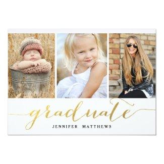 Elegant Gold Script 3 Photo Graduation Party Invitation
