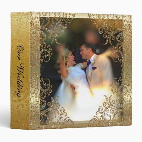 Elegant Gold Scroll Wedding Photo Album Binder