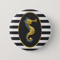 Elegant Gold Seahorse Black and White Stripes Button