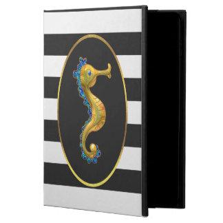 Elegant Gold Seahorse Black and White Stripes Powis iPad Air 2 Case