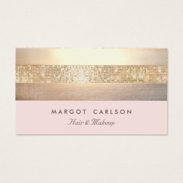 sm_business_cards Elegant Gold Sequins Light Pink Striped *NO SHINE Business Card