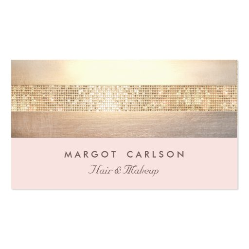 Elegant Gold Sequins Light Pink Striped *NO SHINE Double-sided Standard Business Cards (pack Of 100)