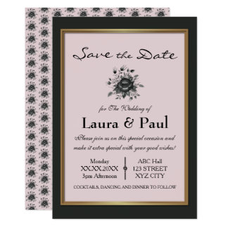 Elegant Gold & shades of Grey Save the Date Card