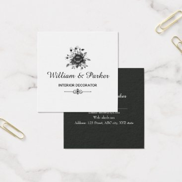 Professional Business Elegant Gold & shades of Grey Square Business Card