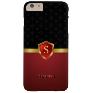 Elegant Gold Shield Monogram Dark Red Pattern Barely There iPhone 6 Plus Case