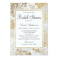 Elegant Gold Silver and Gray Floral Bridal Shower Card