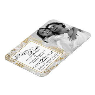 Elegant Gold Silver and Gray Floral Save the Dates Magnet