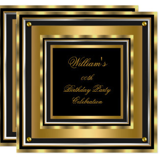 Elegant Gold Silver Black Birthday Party Mens Mans Card