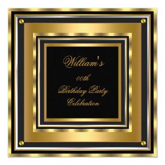 Elegant Gold Silver Black Birthday Party Mens Mans Card
