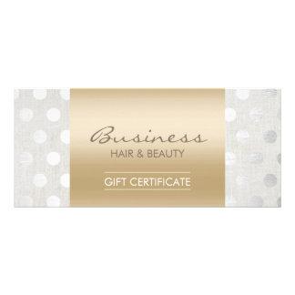 Elegant Gold & Silver Dots Salon Gift Certificates Rack Card Template