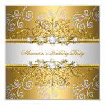 Elegant Gold Silver Lace Diamond Overlay Party Card