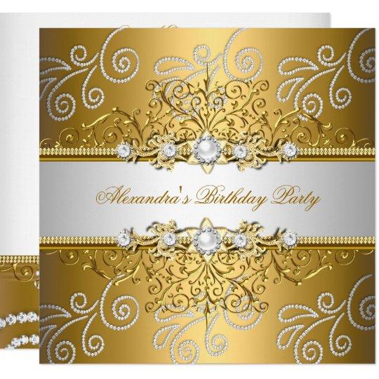 Elegant Gold Silver Lace Diamond Overlay Party Invitation Zazzle Com