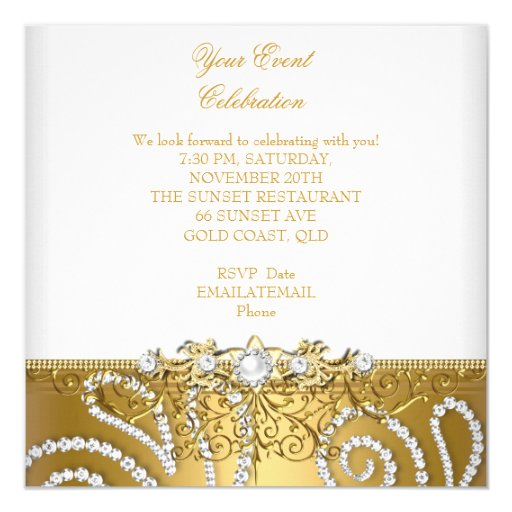 Elegant Gold Silver Lace Diamond Overlay Party Personalized Invitations (back side)
