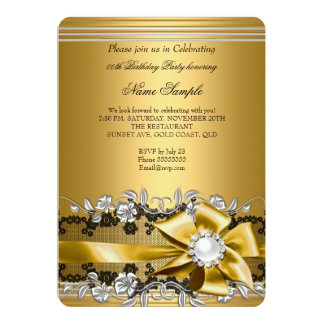 Elegant Gold Silver Pearl Jewel Bow Birthday Party Card