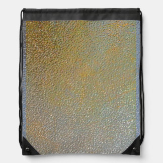 Elegant Gold Silver Pitted Metal Texture Look Drawstring Backpack