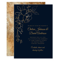 Elegant Gold Sketched Roses on Navy Blue Wedding Invitation