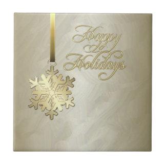 Elegant Gold Snowflake Gold Foil Holiday Tile