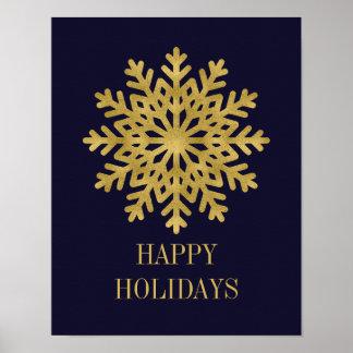 Elegant Gold Snowflake Holiday Poster Sign