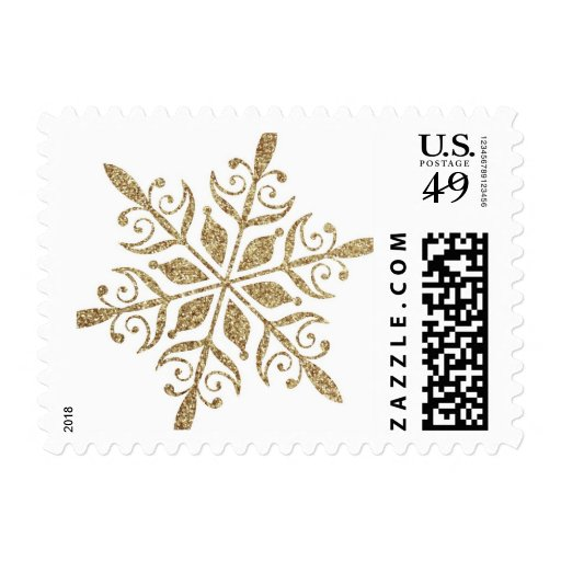 Elegant Gold Snowflake postage stamp in glitter