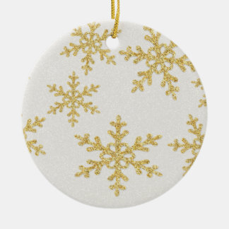 Elegant Gold Snowflakes On White Glittery Ceramic Ornament
