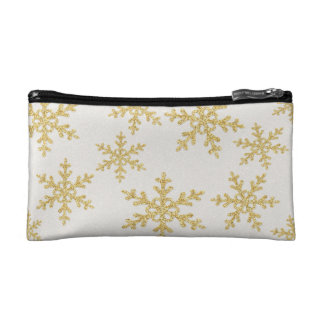 Elegant Gold Snowflakes On White Glittery Cosmetic Bag