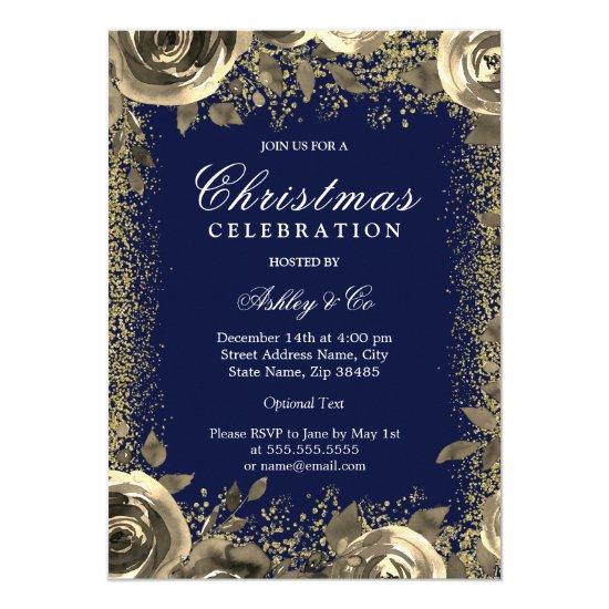Elegant Gold Sparkle Glitter Christmas Party Invitation
