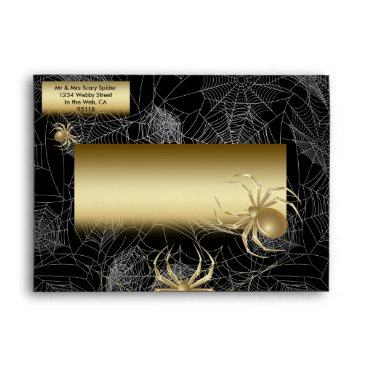 Halloween Themed Elegant Gold Spiders Envelope